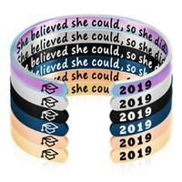 Bracciale Bangle 2021 gioielli di laurea 6mm in acciaio inox in acciaio inox apri Braccialetti di mantra che riteneva così
