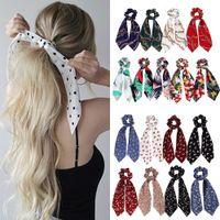 Мода летний хвостик шарф эластичные волосы для женщин бантики волос галстуки ствола волос полосы волос цветок печать ленты