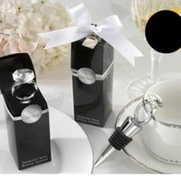 الأوروبي الإبداعي الفضة خاتم الماس شكل زجاجة النبيذ سدادة النبيذ / الفضة هدية الزفاف سدادة النبيذ / 20 قطعة للبيع ، والشحن مجانا DHL