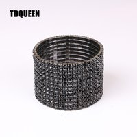 Cheap Bangles TDQUEEN 12 Rows Black Crystal Rhinestone Bangl...