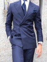 جديد كلاسيكي تصميم الأزرق الشريط العريس البدلات الرسمية رفقاء العريس أفضل رجل دعوى رجل الدعاوى الزفاف العريس (سترة + سروال + التعادل) 1082