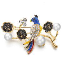 Pins, spille Bello pappagallo per le donne smalto fiore strass cristallo simulata perla spilla pin matrimoni banchetti gioielli regali Z056