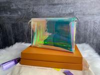 sacchetto di colore dell'arcobaleno   Dazzle donne tote Cancella borse frizione Laser Flash PVC