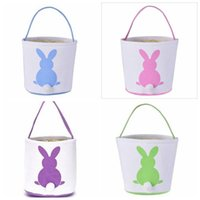 Kids Candy Baskets Rabbit Tail Ears Barrel Bags Easter Bunny Basket Party Festival Candies Easter Eggs Storage Totes Bunny Handbags YYP7152
