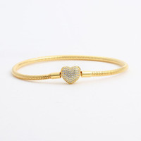 Or jaune 18 carats plaqué CZ Diamant Coeur Bracelets Boîte d'origine Ensemble pour Pandora 925 Argent Bracelet Chaîne Serpent pour Femmes Bijoux De Mariage