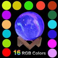 3D Print Star Moon лампы LED Night Light 16RGB Изменение цвета Таблица Bedroom Стол прикроватные лампы с сенсорным управлением Led Ночник для дома Рождество
