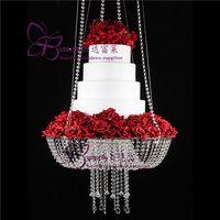 18 pollici di cristallo lampadario stile drape sospeso altalena stand torta rotonda appeso torta stand centrotavola di nozze