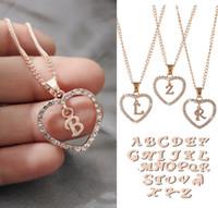 Classic RoseGold 26 carta de diamante pavimentada amor coração pingente colar alfabeto a-z letra inicial colar as mulheres jóias