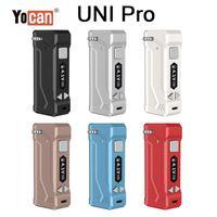 정통 YoCan Uni Pro E-Cigarette Mods 650mAh 예열 배터리 전압 조정 가능한 기화기 Vape Ecig 배터리 OLED 디스플레이 스크린 모든 카트리지 카트 맞는