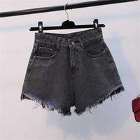 Женские джинсы GKFNMT женские модные шорты лето высокие талии джинсовые женщины короткие Femme тощий тонкий кисточек серый