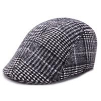 Homens Mulheres Hat Lã Stripe Plaid Beret 18 cores Cabbie Newsboy Cap Golf Driving Plano Casual Beret tampão repicado