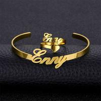Изготовленное на заказ имя браслеты браслеты кольца для женщин девушки золотой цвет ювелирные наборы нержавеющая сталь персонализированные любое имя письма