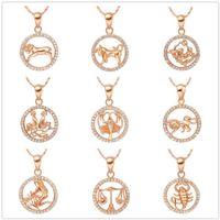 Красивые Кристаллы Красивое Ожерелье Золотого Цвета Близнецы Рак Лев Девы Весы Скорпион 12 Созвездия Подвески Ожерелья