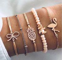 5 teile / los Charme Armbänder Kristall Perlen Bogen Knoten Gold Farbe Gliederkette Armbänder Armreifen für Frauen Boho Schmuck