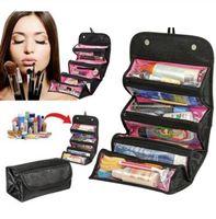 ROLL-N-GO مستحضرات التجميل المنظم حقيبة معلقة أدوات الزينة جيوب مقصورة سفر طقم رول- N-Go حقائب مجوهرات الساخن شعبية