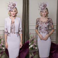 Lilac 2019 Mother of the Bride Dresses With Jacket Lace Appl...