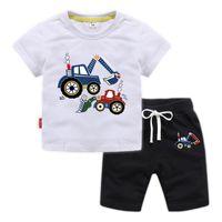 desenho animado roupa escavadora T-shirt meninos e meninas do bebê do desenhador e shorts terno Tracksuits Kids Clothing Set Moda Infantil de Verão
