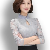 Damen Neue Chiffon Spitzenblusen Tops Feminine Long Puff Sleeved Shirt Rüschenknopf Tops Plus Size 3XL Blusa Fiminina