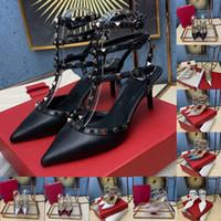 2020 Nova Chegada Sandálias desenhadas para Mulheres Genuínas Bomba de Rockstud de couro com precintas de 95mm espigões Salto Salto Alto Sandálias Super altas