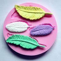 Figura della piuma di alta qualità Collezione torta Mold 1 pc del silicone del fondente del cioccolato del sapone muffa della decorazione della gelatina della caramella 3D fondente Lace Mold