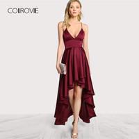 Colrovie Parti Elbise Derin V Boyun Spagetti Kayışı Kolsuz Maxi Elbise Asimetrik Çapraz Backless Yüksek Düşük Cami Elbise Y19051001