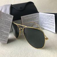New Designer Marca piloto óculos de sol para mulheres dos homens Outdoorsman óculos de sol Eyewear Gold Brown 58 milímetros 62mm Lentes de vidro com casos de 18 cores