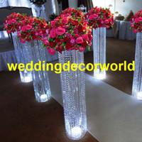 Ucuz satış 100 cm / 120 cm tall Toptan Moda Tall akrilik Kristal Çiçek Düğün Dekorasyon decor206 Için Ayağı Standı