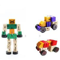 Deformación Robot Bebé Desmontaje práctico Robot Juguetes de madera Educación temprana ¿Juguete de aprendizaje? Juguetes de rompecabezas geométricos para bebés Regalo