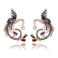 Shining Kolorowe Cyrkon Chiński Phoenix Drop Kolczyki Fine Jewelry Wedding Dangle Kolczyki dla kobiet Gril Prezent