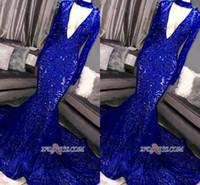 2019 neue wunderschöne königliche blaue meerjungfrau prom kleider lange ärmel tiefe v ausschnitt spitze applique abend party tragen formelle kleid vestidos