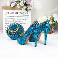 14cm Stiletto Yüksek topuk Düğün Bag Eşleştirme ile Yuvarlak Çanta Gelin Ayakkabıları ile Mavi Elmas taklidi Yıldönümü Töreni Shoes