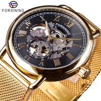 Classic Black Forsining Ouro Skeleton Relógio malha Banda Design Homens Impermeável Relógios Mecânicos Top Marca de luxo Montre Homme