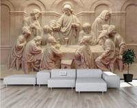 Mural personalizado 3D 3D Estéreo 3D Última cena Escultura Papel de pared de lujo Hotel Sala de estar TV Telón de fondo Murales De Pared 3D