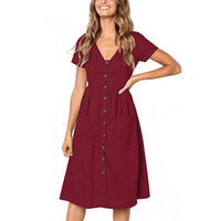 خط فساتين عادية اللباس الصيف نساء الحزب شاطئ خمر فستان للأزرار السيدات V الرقبة الجيب ميدي فستان الشمس أنثى