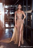 2019 Sexy Sheer Tüll Abendkleider Abendkleid Zuhair Murad Elegante Abendkleider Lange Volle Perlen Split Size Kleider Für Besondere Anlässe