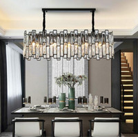 New Post-modern Black Chandelier Lighting Rectangle Dining Room Kitchen Island LED Light Fixtures Hanging Cristal Lamps MYY