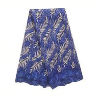 WorthSJLH nuevo último nigeriana tela del cordón 2019 de alta calidad Francés neto de encaje color azul con piedras melocotón tela de acoplamiento de guipur