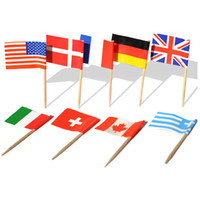 100 Pcs Cupcake Toppers Flag National Flag Cocktail Picks Mi...
