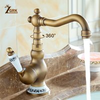 ZGRK All'ingrosso e al minuto Deck Mounted Single Handle Rubinetto per lavabo Miscelatore Rubinetto in ottone anticato e acqua calda