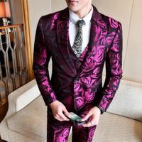 Trajes para hombres Blazers Gzdeerax Flower Men (Blazer + chaleco + Pantalones) Lujo Individual Sombras Para hombre Boda Groom Fashion Slim Fit Hombre