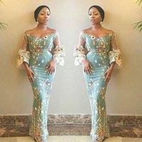 Einzigartige Blumen Stoff Prom Kleider Südafrikaner von der Schulter Abendkleider Sheer Sleeves Mermaid Plus Size Formale Party Kleid
