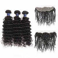 H Virgin Hair Bundles Indien du Brésil avec fermeture vague profonde Malaisie Vague en vrac profonde avec Frontal Yucan Bundles cheveux avec Clos