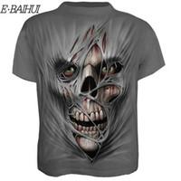 E-BAIHUI Fashion Horror Skull Print 3D Print Funny T Shirt Summer Quick Dry Hip Hop Top Manica corta Grigio Tees Abbigliamento 2019
