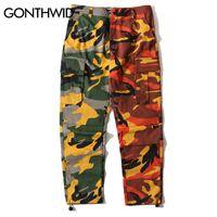 Pantalones de camuflaje bicolor de GONTHWID Camuflaje de remiendo de hip hop Pantalón de carga militar Pantalón con múltiples bolsillos de algodón casual Streetwear T5190617