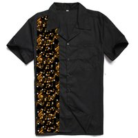 새로운 디자인 음악 패널 Mens Shirts Rock N Roll 캐주얼 Rockabilly 볼링 셔츠