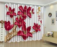 ستارة ثلاثية الأبعاد منزلية مخصصة وجمال أحمر غني مثل الستائر الزهرية ثلاثية الأبعاد الداخلية تزيين الستائر الجميلة
