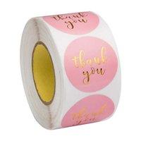 핑크 종이 라벨 스티커 호일 당신 스티커 스크랩북 1 ''500PCS 결혼식 봉투 봉인 수제 편지지 스티커 감사