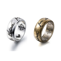 Women Letter Blind for Love Finger Ring Bird Flower Carved V...
