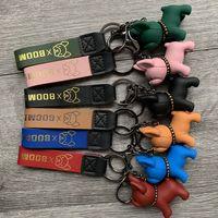 Fransız Bulldog Zincir Perçin Köpek Araba Anahtarlık Anahtarlık Çanta Pendant Çift Hediye 6 Renkler