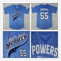 Kenny Powers # 55 Jersey de baseball de Myrtle Beach Mermen Blue